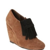 Cooperative Suede Fringe Zip Wedge