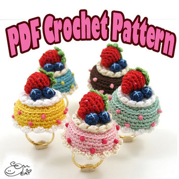 PDF Amigurumi / Crochet Pattern Amigurumi dessert jewelry Berries N' Cream Cake Ring CP-15-3252
