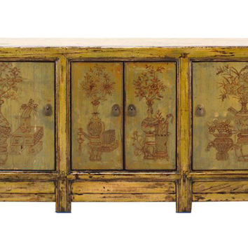 Chinese Yellow Green Flower Vases Sideboard Buffet Table Cabinet cs1300S