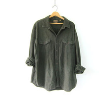 Vintage flannel shirt. boyfriend shirt. army green blanket shirt. button up baggy shirt. 2XL