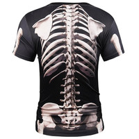 Europe America Fashion Men/Women T-shirt 3d Print Skeleton Skulls T-shirt Summer Tops Tees Brand T s