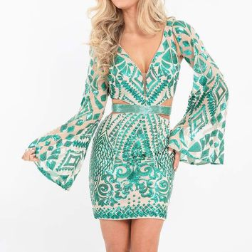 Rachel Allan - 4623 Illusion Angel Sleeve Sequined Cutout Dress