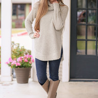 Coming Up Cozy Turtle Neck Sweater - Taupe