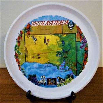 Vintage 1970s South Australia, Australia Souvenir Metal Tray / Bright Coloured Retro Tray - Adelaide / Coat of Arms / Made in Hong Kong