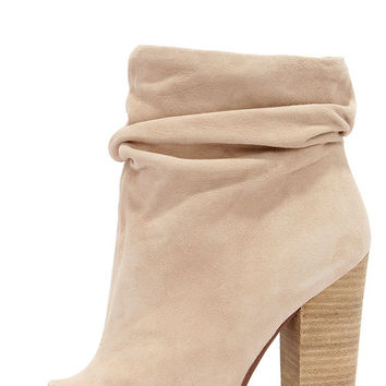 Chinese Laundry Laurel Nude Kid Suede Peep Toe Booties