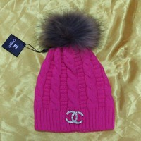 Chanel CC Logo Diamonds Fashion Knit Hat Warm Woolen Hat