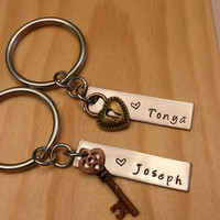 Hand Stamped Personalized Keychain Couples Keychain - Key to My Heart Keychain - Wedding Gift - Anniversary Gift