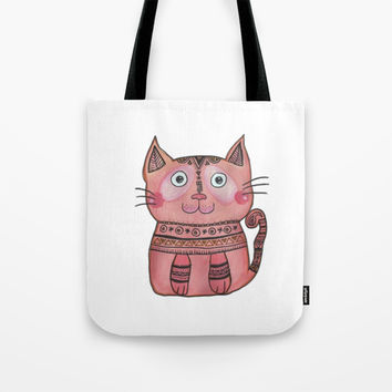 Tribal Cat Tote Bag by Shashira Handmaker