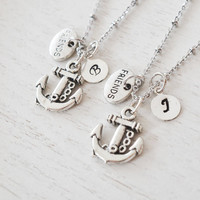 silver anchor necklace,best friend personalized jewelry,bridesmaid gift,nautical matching jewelry,friendship graduation,brothers present