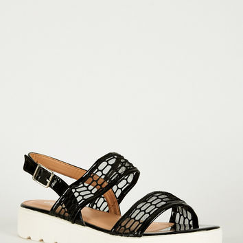 Black Sandal With Cleated Soul