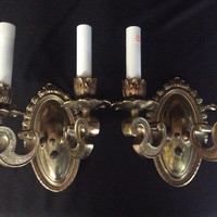 Antique Pair Of Double Arm Brass Sconces Original Art Nouveau 1920s