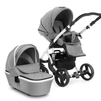 2 Way Facing Luxury Baby Carriage High Landscape Stroller With Bassinet