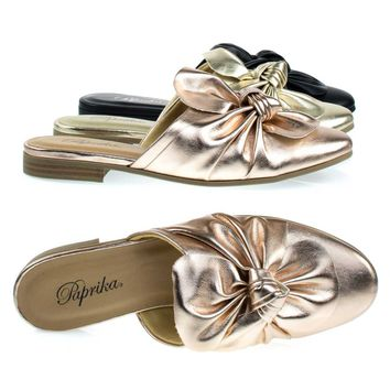 Tapper Dk-Penny By Paprika, Flat Round Toe Mule w Oversize Bow Topping, Women's Open Back Loafer