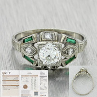 1930s Antique Art Deco 18k Solid Gold .89ctw Diamond Emerald Engagement Ring GIA