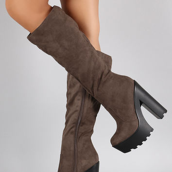 Speed Limit 98 Suede Chunky Lug Sole Platform Heeled Boots