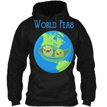 World Peas - Funny World Peace Pun T Shirt Earth Day Tee Pullover Hoodie 8 oz