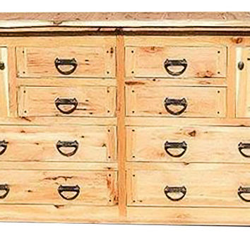 Rustic Hickory Eight Drawer Dresser ~ Hickory Creek Collection