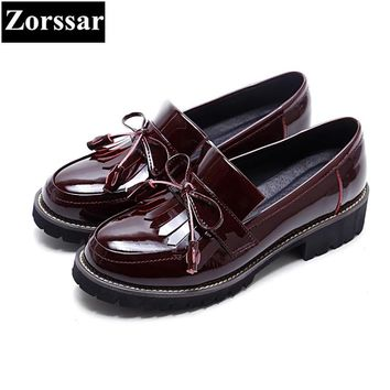 Patent leather Womens Flats Oxford Shoes 2017 fashion Tassel Vintage British style Oxfords shoes women Flat Heel Leather shoes