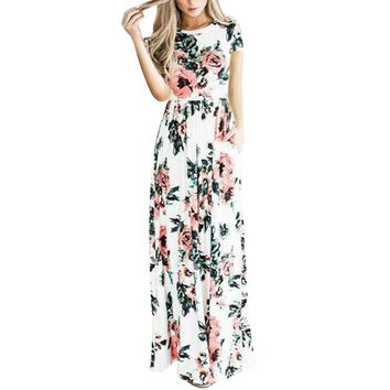 YUMDO Women's Short Sleeve Floral Printed Maxi Dresses Summer Dress with Pockets White M