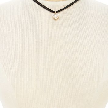 Faux Suede Heart Choker Set