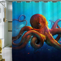 "octopus shower curtain by holidayshowercurtain size 36"" x 72"", 48"" x 72"", 60"" x 72"" , 66"" x 72"""