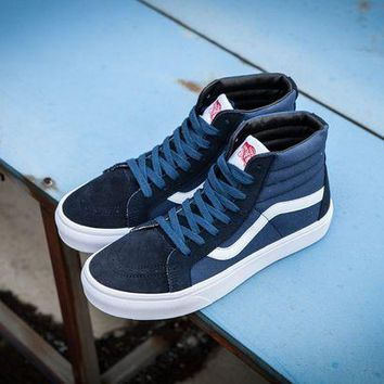 DCCKBE6 Vans Vault Og Sk-Hi Lx Navy Blue High Top Sneaker Flats Shoes Canvas Sport Shoes