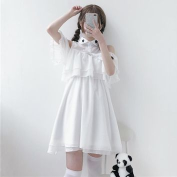 Sweet Lolita Ruffle Chiffon White Dress