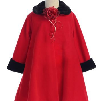 Red Fleece & Black Fur Trim Tea Length Dress Coat (Girls Sz 2T to 12)