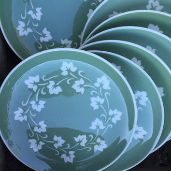 Vintage Harker pottery Ivy Wreath green salad plates, green / white tableware, mid century Harkerware atomic dish,  60s kitchen dinnerware