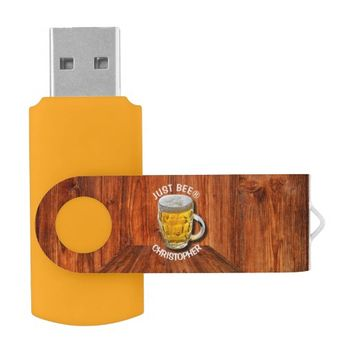 Glass Pint Beer Mug With White Head With Your Text Flash Drive