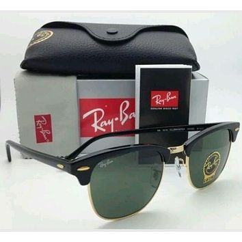 NEW Authentic Ray Ban Clubmaster RB3016 Black Frame W0365 51mm Lens FREE SHIP