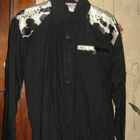 VINTAGE Sassa  BLACK with faux pony hair   showmanship   riding  western shirt  ...med