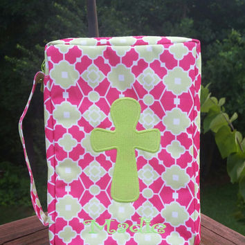 Pink & Lime Trellis Bible Cover