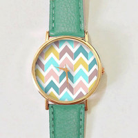 Chevron Pastels Watch , Vintage Style Leather Watch, Women Watches, Boyfriend Watch, Men's watch, Autumn Back to School