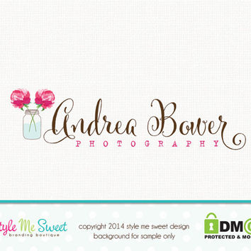 Custom Premade Logo Design - Photography Photographer Watercolor Flower Hand Drawn Logo Design