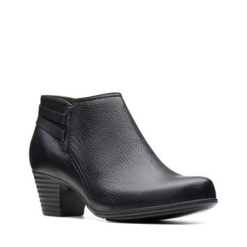 Clarks Valarie2ashly Black Leather Ankle Boots