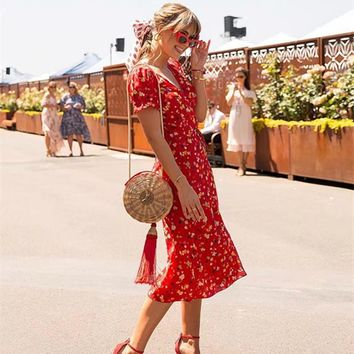 Fashion Boho Floral Printed Short Sleeve V Neck Midi Dress