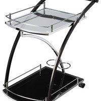 Robyn Loft Bar/Serving Cart - Black and Chrome