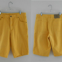 Mens 90s Clothing 90s Hip Hop Clothes Yellow Jean Shorts Men Jean Shorts Bright Colours Bright Color Beach Clothes Bugle Boy Summer Clothes