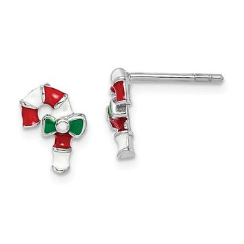 925 Sterling Silver Candy Cane Christmas Earrings