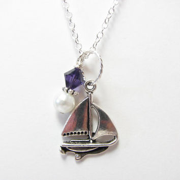 Tri Sigma Necklace - Official Greek Licensed Sorority Jewelry - Sailboat Necklace - Purple Swarovski Crystal - Sigma Sigma Sigma Big Little