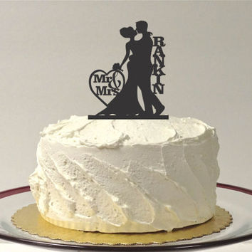 Mr and Mrs Silhouette Cake Topper Monogram Personalized Silhouette Wedding Cake Topper Bride and Groom Cake Topper