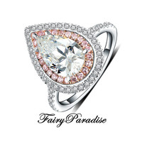Art Deco 3 Ct Pear Cut Diamond Two Tone Double Halo setting Engagement Rings / Promise Ring, Man Made Diamond Free gift box (Fairy Paradise)