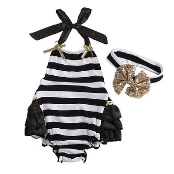 Baby Rompers Girl Baby Costumes Set Stripe Floral Sleeveless Halter Romper Jumpsuit Sunsuits Outfit With Headband
