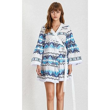 Bohemian Rhapsody Patchwork Geometric Pattern 3/4 Bell Sleeve Cross Wrap V Neck A Line Flare Casual Mini Dress - 2 Colors Available