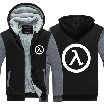 Mens Game Hoodie Half Life FPS video game Jacket Thicken Fleece Hoodie Winter Zipper Coat US EU Plus Size