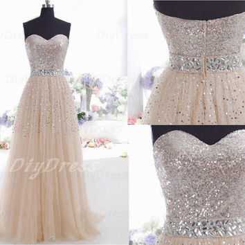A-line Sweethart Silver Sequins Lace Bodice Handmade Beaded Waistband Long Prom Dresses,Champagne Tulle Evening Dresses,Party Dresses