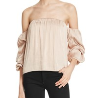 BardotCaught Sleeve Off-The-Shoulder Top