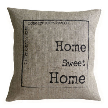 """Personalized Home Sweet Home Hessian Burlap Pillow Cushion Cover 16"""""""