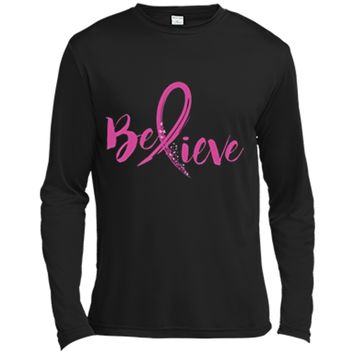 Believe - Women Breast Cancer Awareness Fight T-Shirt Long Sleeve Moisture Absorbing Shirt